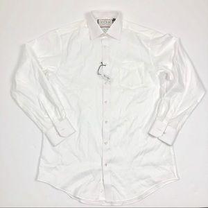 London Thomas Men's White Classic Fit Dress Shirt